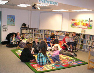 Students reading in the Dickinson Elementary School library